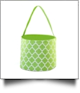 Monogrammable Easter Basket & Halloween Bucket Tote - LIME QUATREFOIL