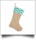 Blank Burlap Christmas Stocking - GREEN CHEVRON - CLOSEOUT