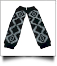 Tribal Print Baby Leg Warmers - BLACK & WHITE - CLOSEOUT