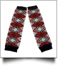 Tribal Print Baby Leg Warmers - BLACK, WHITE & RED - CLOSEOUT
