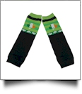 St. Patrick's Day Print Baby Leg Warmers - BLACK & GREEN - CLOSEOUT