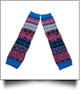 Geometric Print Baby Leg Warmers - HOT PINK & BLUE - CLOSEOUT