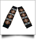 Tribal Print Baby Leg Warmers - BROWN, WHITE & BLACK - CLOSEOUT