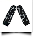 Cross Print Baby Leg Warmers - BLACK & WHITE - CLOSEOUT