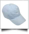 The Coral Palms® Seersucker Unstructured 6 Panel Baseball Hat - LIGHT BLUE