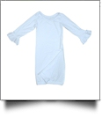 The Coral Palms� EasyStitch Newborn Layette Gown with Invisible Zipper for Easy Embroidery - WHITE with RUFFLES