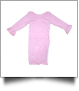 The Coral Palms� EasyStitch Newborn Layette Gown with Invisible Zipper for Easy Embroidery - PINK with RUFFLES