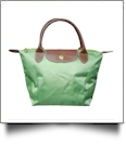 Small Designer-Inspired Foldable Microfiber Travel Bag with Faux Leather Strap & Trim - GREEN APPLE - CLOSEOUT