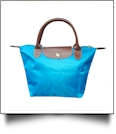 Small Designer-Inspired Foldable Microfiber Travel Bag with Faux Leather Strap & Trim - AQUAMARINE - CLOSEOUT
