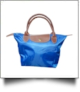 Small Designer-Inspired Foldable Microfiber Travel Bag with Faux Leather Strap & Trim - ROYAL BLUE - CLOSEOUT