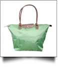 Medium Designer-Inspired Foldable Microfiber Travel Bag with Faux Leather Strap & Trim - GREEN APPLE - CLOSEOUT