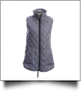 Diamond Quilted Legging Length Vest - GRAY w/ ARCTIC BLUE - CLOSEOUT