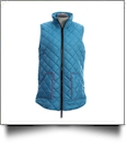 Diamond Quilted Legging Length Vest - TURQUOISE w/ HOT PINK - CLOSEOUT