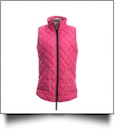 Diamond Quilted Legging Length Vest - HOT PINK w/ LIGHT GRAY - CLOSEOUT