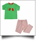 Adult Candy Cane Striped Christmas Pajamas - GREEN SHIRT - CLOSEOUT
