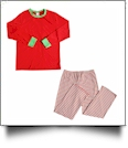 Adult Candy Cane Striped Christmas Pajamas - RED SHIRT - CLOSEOUT