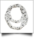 Halloween Bat Print Jersey Knit Infinity Scarf Embroidery Blanks - WHITE - CLOSEOUT