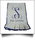 The Coral Palms® EasyStitch 2-Sided Ruffle Garden Banner Flag - NAVY TRIM - CLOSEOUT