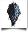 Designer-Style Plaid Blanket Scarf - BLUE/ORANGE - CLOSEOUT
