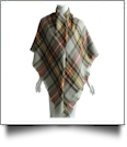 Designer-Style Plaid Blanket Scarf - TAN/ORANGE/GRAY