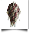 Designer-Style Tartan Checked Plaid Blanket Scarf - CAMEL - CLOSEOUT