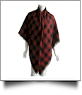 Designer-Style Plaid Blanket Scarf - BLACK/RED