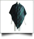 Designer-Style Tartan Checked Plaid Blanket Scarf - GREEN/BLUE