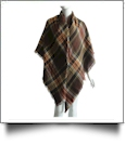 Designer-Style Tartan Checked Plaid Blanket Scarf - BROWN/ORANGE/WHITE - CLOSEOUT
