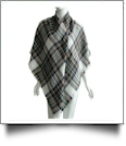 Designer-Style Plaid Blanket Scarf - WHITE/BLUE/YELLOW - CLOSEOUT