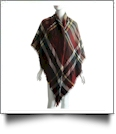 Designer-Style Plaid Blanket Scarf - BURGUNDY/YELLOW - CLOSEOUT