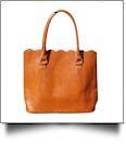 The Coral Palms™ Luxurious Scalloped Faux Leather Purse - LIGHT BROWN