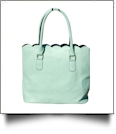 Luxurious Scalloped Faux Leather Purse - MINT