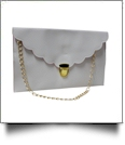 Scalloped Leatherette Envelope Clutch Purse Embroidery Blank With Detachable Gold Shoulder Chain - WHITE
