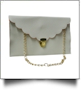Scalloped Leatherette Envelope Clutch Purse Embroidery Blank With Detachable Gold Shoulder Chain - IVORY
