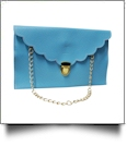 Scalloped Leatherette Envelope Clutch Purse Embroidery Blank With Detachable Gold Shoulder Chain - LIGHT BLUE