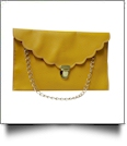 Scalloped Leatherette Envelope Clutch Purse Embroidery Blank With Detachable Gold Shoulder Chain - YELLOW