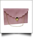 Scalloped Leatherette Envelope Clutch Purse Embroidery Blank With Detachable Gold Shoulder Chain - LIGHT PINK