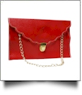 Scalloped Leatherette Envelope Clutch Purse Embroidery Blank With Detachable Gold Shoulder Chain - RED