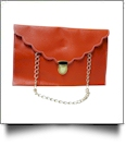 Scalloped Leatherette Envelope Clutch Purse Embroidery Blank With Detachable Gold Shoulder Chain - ORANGE