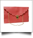 Scalloped Leatherette Envelope Clutch Purse Embroidery Blank With Detachable Gold Shoulder Chain - SALMON