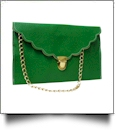 Scalloped Leatherette Envelope Clutch Purse Embroidery Blank With Detachable Gold Shoulder Chain - KELLY GREEN