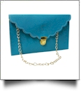 Scalloped Leatherette Envelope Clutch Purse Embroidery Blank With Detachable Gold Shoulder Chain - TROPICAL BLUE