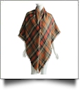 Designer-Style Plaid Blanket Scarf - ORANGE/RED - CLOSEOUT