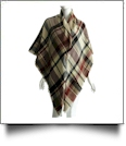 Designer-Style Plaid Blanket Scarf - TAN/BROWN - CLOSEOUT