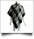 Designer-Style Plaid Blanket Scarf - BLACK/TAN - CLOSEOUT