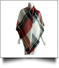 Designer-Style Plaid Blanket Scarf - RED/NAVY/BLACK - CLOSEOUT