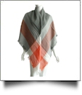 Designer-Style Plaid Blanket Scarf - GRAY/ORANGE - CLOSEOUT