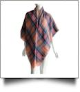 Designer-Style Plaid Blanket Scarf - PINK/BLUE