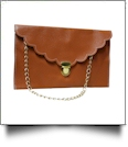 Scalloped Leatherette Envelope Clutch Purse Embroidery Blank With Detachable Gold Shoulder Chain - BROWN