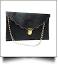 Scalloped Leatherette Envelope Clutch Purse Embroidery Blank With Detachable Gold Shoulder Chain - BLACK